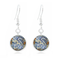Blue Paisley Photo Tibet Silver Dome Photo 16MM Glass Cabochon Long Earrings#358