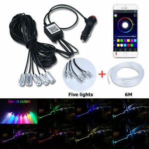 8M 6in1 RGB LED Car Interior Neon Strip Bluetooth APP Control Atmosphere Light