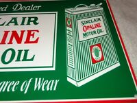 "VINTAGE SINCLAIR OPALINE MOTOR OIL QUART 12"" METAL GASOLINE SIGN DINO PUMP PLATE"