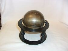 "Decorative Brass Metal Globe in Black Metal Stand for Tabletop 6.5"" Tall"