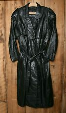 Vintage WILSON'S Black Leather Double Breasted Trench Coat Women's Sz. M