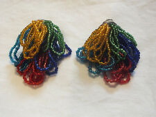 """Beautiful Clip Earrings Silver Tone Bold Colorful Seed Bead Loops 2 x 1 1/2"""" WOW"""
