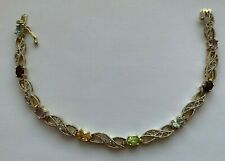 925 STERLING SILVER GOLD TONE MULTI COLOR STONES TENNIS BRACELET