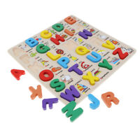 Wooden Alphabet Letters Full Puzzle Children Educational Toy Learn Jigsaw