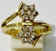bague ancien bijou vintage plaqué or zircon couleur diamant fleur T. 55 * 1778