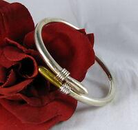 Sterling Silver & Brass Taxco Clamper Bracelet CAT RESCUE