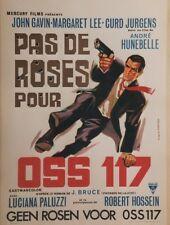 PAS DE ROSES POUR OSS 117 Affiche belge orig. entoil. Jean BRUCE,André HUNEBELLE