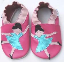 Littleoneshoes(Jinwood)  Soft Sole Leather BallerinaFuchsia Baby Shoes 6-12M