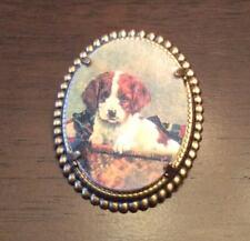Brittany Welsh Springer Spaniel Hunt Dog vintage like brass pin brooch