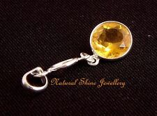 Pendant 925 Sterling Silver Gemstone Simulant  Citrine- Pendant Size 33 x 11 mm