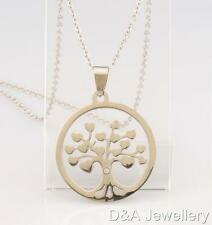 Stainless Steel Round Free Pouch Silver 30mm Tree of Life Heart Crystal Necklace