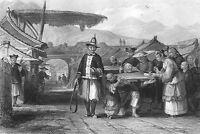China CANGUE TCHA PILLORY PUNISHMENT TORTURE Starving ~ 1842 Art Print Engraving