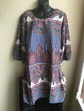 Printed Multicolor Plus Size 1X Dress 3/4 Sleeves Polyester Big Bow On Back