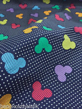 NAVY BLUE Mickey Mouse MULTI COLORS Polka Dots 100% COTTON Fabric Kids Craft BTY