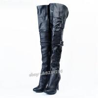 TOP Overkneestiefel Damen High Heels Schwarz Lederstiefel Spitz Schick Boots NEU