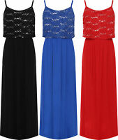 Plus Womens Strappy Layered Sequin Floral Print Maxi Dress Ladies Full Length