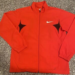 Nike Full Zip Warm Up Track Jacket Mens Medium Red And  Black Sportswear