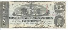 $20 Csa 1863 Confederate Currency T58 Capital Nashville Cr421 1st series #42274