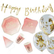 70 Teile Dekobox 'Happy Birthday' Geburtstag Mädchen rosa gold 16 Personen