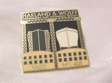 TITANIC 22ct GOLD-PLATED ENAMEL BADGE by the DANBURY MINT WHITE STAR LINE #3