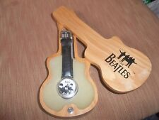 THE BEATLES APPLE TIMEPIECE WATCH WITH WOODEN GUITAR CASE NEW BATTERY FITTED