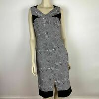 David Lawrence Womens Grey Black Classic V Neck Pencil Dress Size 10 A7