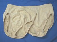 LOT OF 2, Flexees Maidenform SHAPING BRIEF PANTIES Thick Knit BEIGE LOW RISE 6