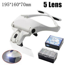 Headband Magnifier Head Light 2 LED Adjustable Magnifying Glass with 5 Lens Set