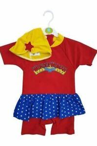 Baby Swim Set Wonder Woman Girls Swimwear Hat DC Tutu Swimsuit Swimming Costume