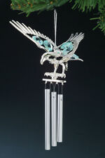 Eagle FIGURINE - WIND CHIME /ORNAMENT SILVER PLATED WITH AUSTRIAN BLUE CRYSTALS