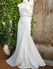 £179 Exquisite MONSOON Oonagh: silver embellished one shoulder gown size 14