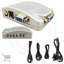 PC portátil VGA de CCTV para TV AV RCA S-Video caja conversor Adaptador UKES HD compuesto