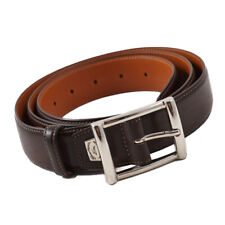 "New $350 SANTONI Dark Brown Smooth Calf Leather Belt Adjustable Strap / 44"""