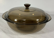 Pyrex Vintage Corning Ware Visions Brown Bowl 2L w/ Lid Glass Cookware Usa 8.5�