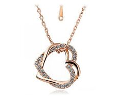 "Double Heart Crystal Rhinestone Silver Rose Gold 20"" Chain Pendant Necklace S3"