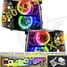 ORACLE Halo BLACK HEADLIGHTS Chevrolet Silverado 07-13 COLORSHIFT Simple RGB