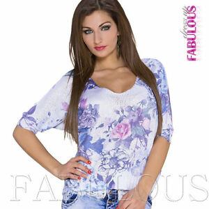 Ladies Floral Knit Top Relaxed Fit Size 10 12 14 M L XL Christmas Gift for her