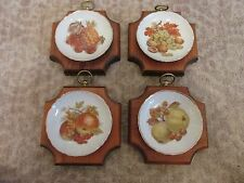 HMS Royal Hanover Plates Wall Hanging Set of 4 Fruit