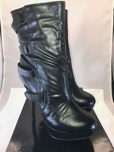 NIB Liliana Black Platform Calf High Side Zip Stiletto Heel Boots (Z12971) 8.5