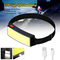 COB LED Headlamp Flashlight USB Rechargeable Head Light Torch Lamp for Camping