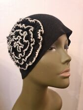 H&M Ladies Vintage Style  Black & White Side Floral Knitted Beanie Hat