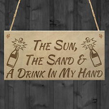 Sun Sand Drink Beach Alcohol Friendship Home Gift Hanging Plaque Bes Friend Sign
