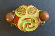 RARE Vintage Art Deco ?Bakelite Brooch Carved Orange Chartreuse Green Glass Gems