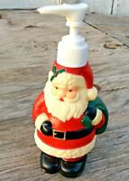 """Christmas Santa Claus Plastic Soap Lotion Dispenser For  Bath Or Kitchen 7"""" Tall"""
