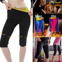 Women Sweat Pants Yoga Leggings Hot Thermo Neoprene Sauna Capris Body Shapers US