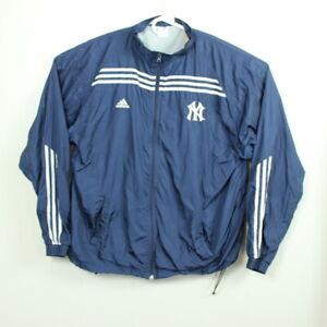 New York Yankees Jacket Windbreaker 2XL XXL Adidas Blue Zip Up Logo MLB