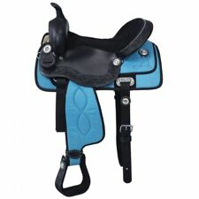 """Western Half leather and Synthetic Black and Blue Saddle With Silver Dots 15"""""""