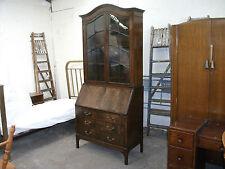 Antique Mahogany Glazed Dome Top Bureau Bookcase 6 Locks Keys Desk Vintage Old