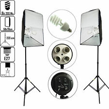 DynaSun Kit KSHK400 1600W 2x Illuminatore 4in1 2 Softbox 50x70 2 Stativo 8 Luci