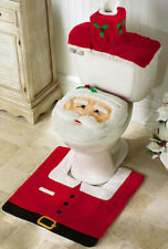 3 Santa Claus Commode Set Toilet Seat Cover Rug Christmas Holiday Decor Bathroom